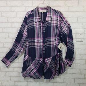 Molly + Isadora purple button down shirt size 0X